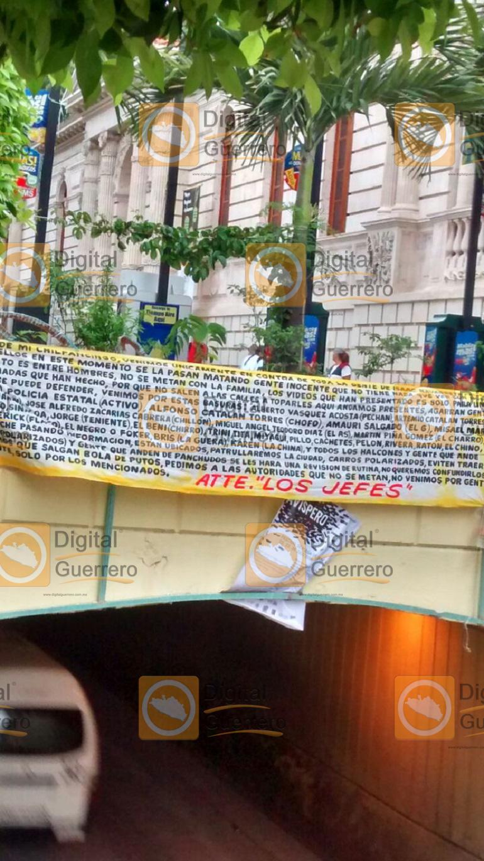 Localizan narco manta en pleno zócalo de Chilpancingo; advierten una limpia 1