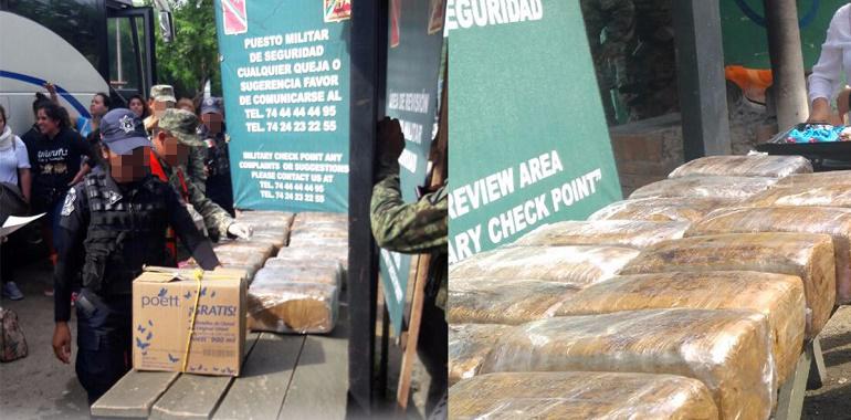 Ejército Mexicano y Policía Estatal aseguran presunta marihuana en autobús de pasajeros  1
