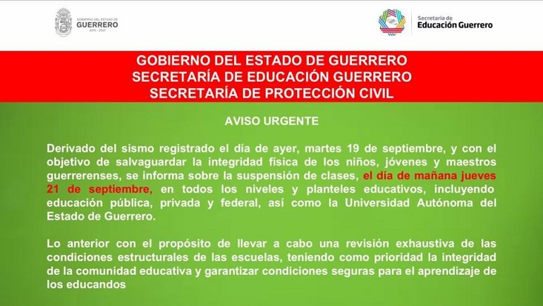Suspenden clases en Puebla, Veracruz, Guerrero y CDMX