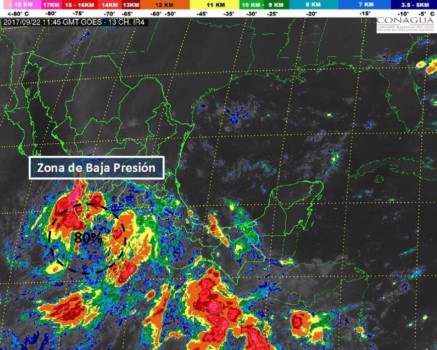 Probabilidad de formación de ciclón frente a costas de Michoacán y Colima